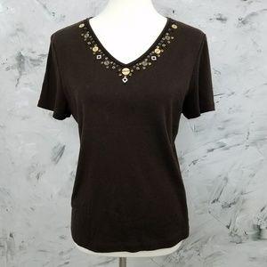 KAREN SCOTT Chocolate Brown Beaded T-Shirt / Top
